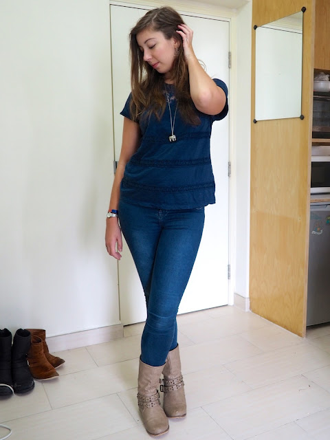 True Blue | outfit of dark blue lace patterned t-shirt, blue skinny jeans, and short chunky brown boots