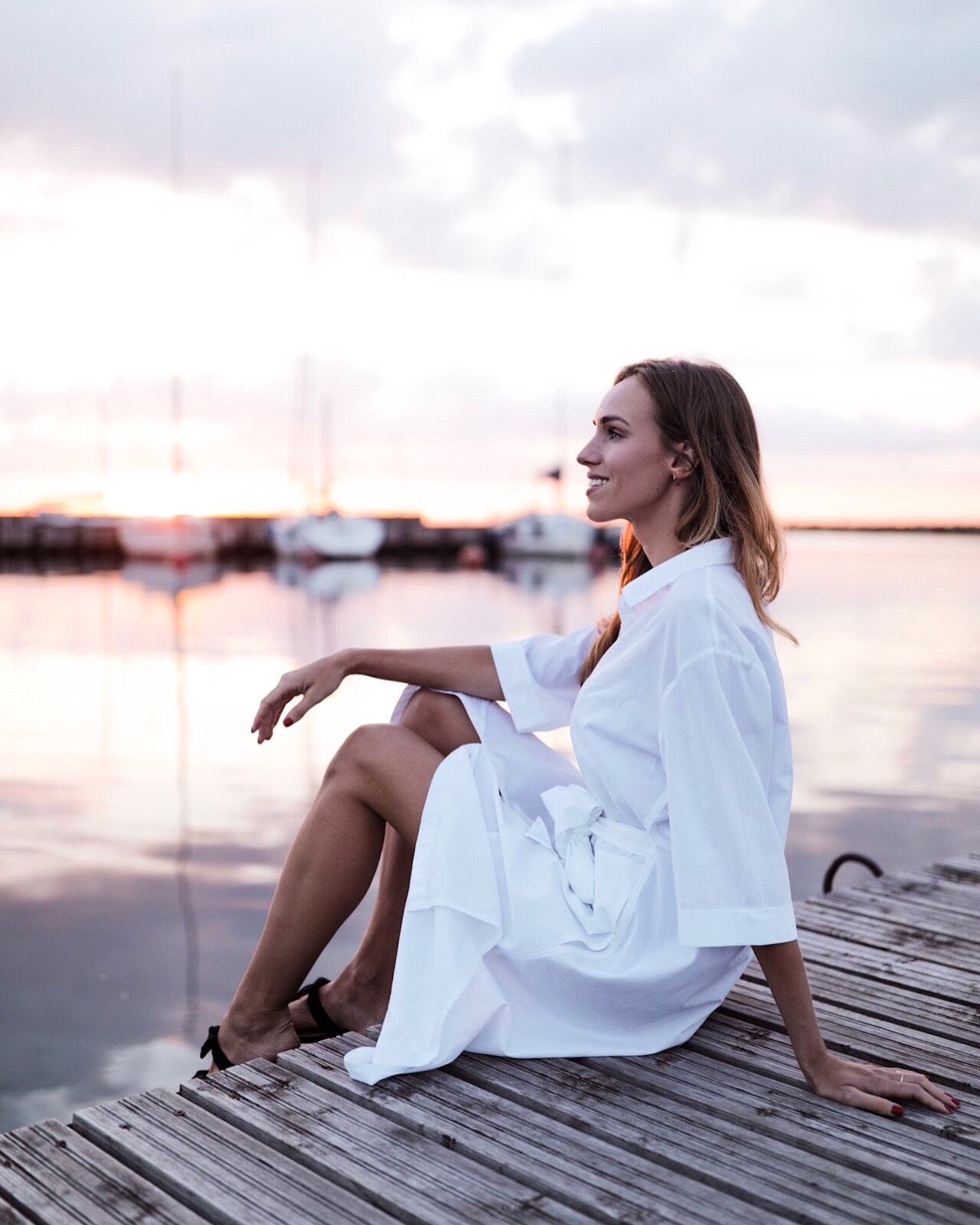 girl sunset white dress harbour summer