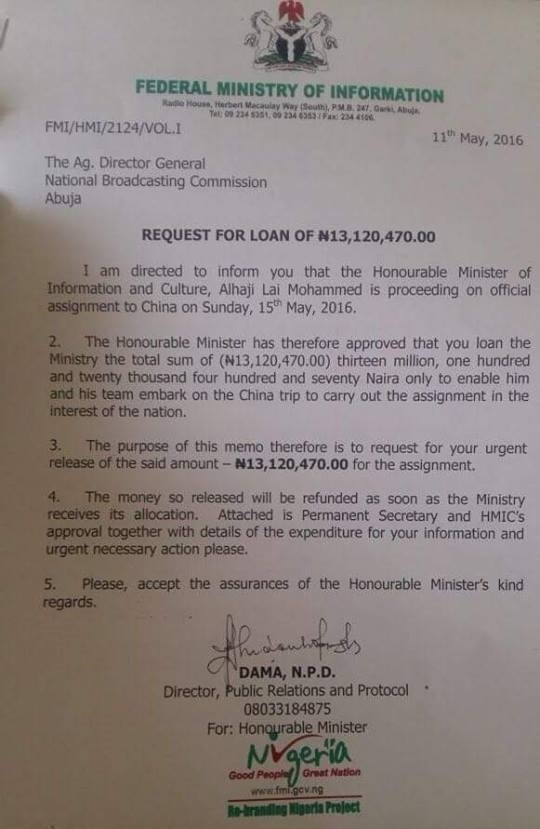 Minister Of Information Lai Mohammed Is Requesting For