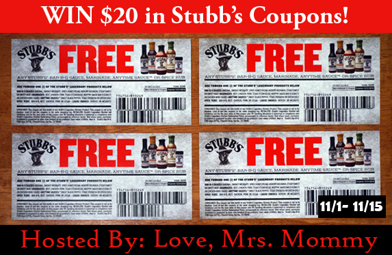 Stubbs #Giveaway Winner Will Receive $20 in #FREE item #coupons. Ends 11/15