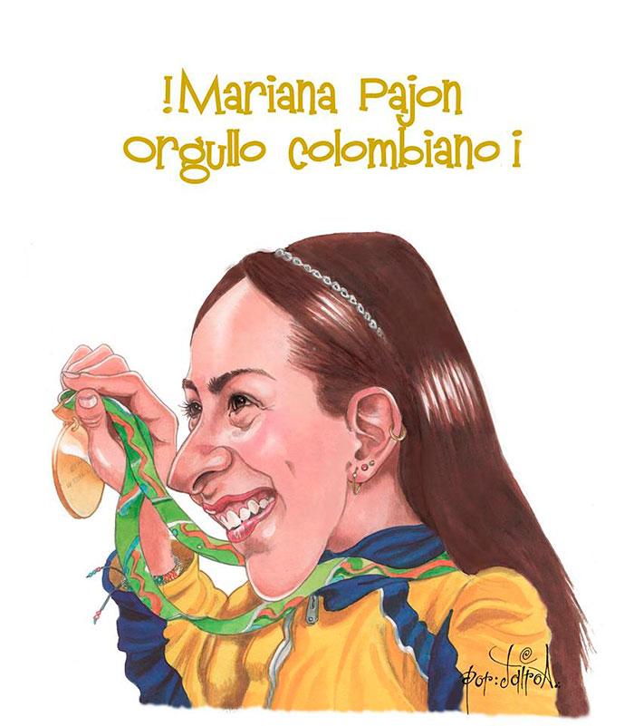 Caricatura de Mariana Pajón por Jairo A. Alvarez Osorio
