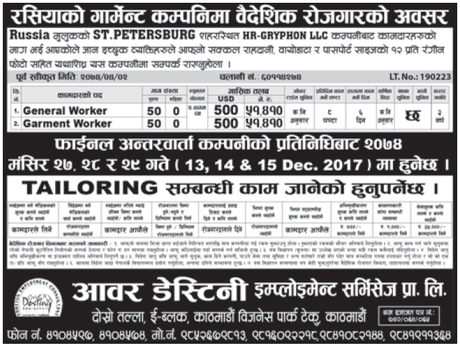 Jobs in Russia for Nepali, Salary Rs 51,410