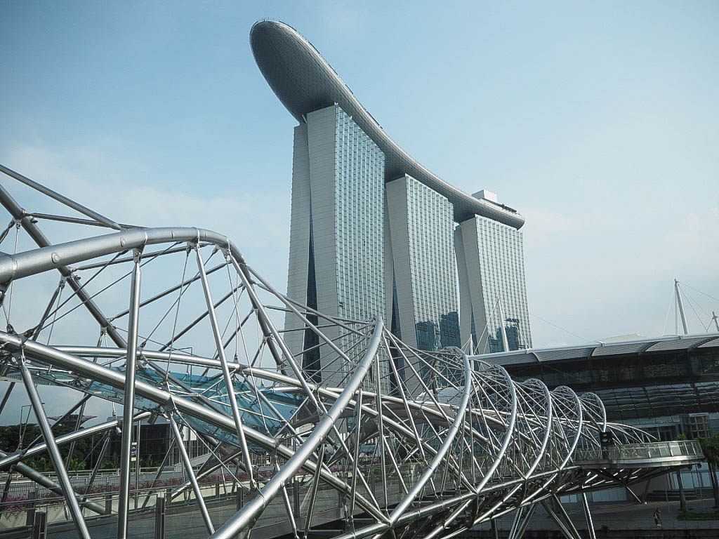 Helix Bridge and Marina Bay Sand hotel in Singapore