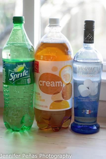 Halloween cocktail, marshmallow vodka, sprite, lemon-lime soda, cream soda