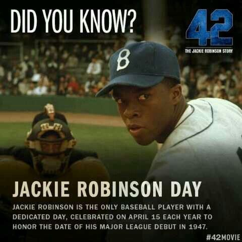 Você sabia  Dia de Jackie Robinson - Jackie Robinson é o único jogador de  beisebol a ter um dia dedicado só a ele 2be74bf671830