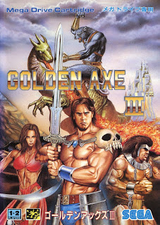 Cubierta del cartucho original de Golden Axe III para Sega Megadrive/Genesis de 1993