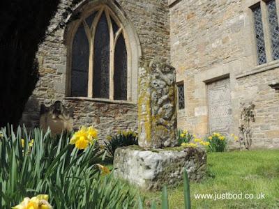 Carved cross shaft Church of St John the Baptist, Stanwick, North Yorkshire