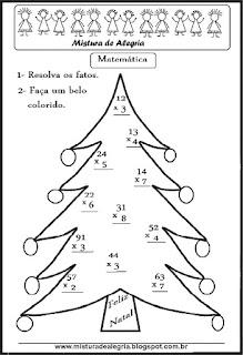 Árvore de natal com fatos da multiplicação