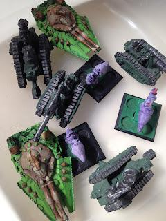 vintage Warhammer 40K Epic, Eldar Tempest, jetbikes, Imperial Guard, Bombards, Basilisks, Squat Devastators