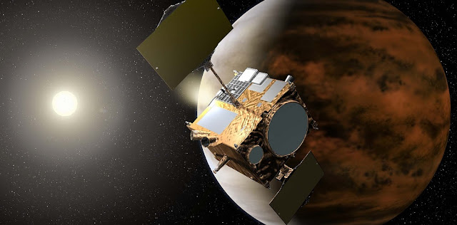 Artist's rendering of the Akatsuki spacecraft orbiting Venus. Credit: JAXA