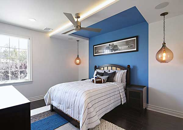 Bedroom, Room Or Room Painted And Decorated In Blue And White