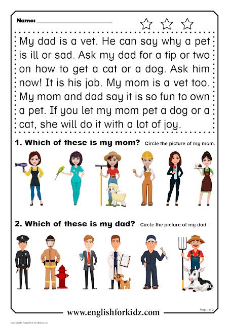 Reading comprehension passage - printable ESL worksheet for elementary school