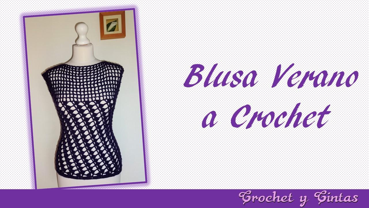 Blusa verano con puntos combinados a crochet para mujer ~ Crochet y ...
