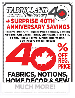 Fabricland Flyer April 21 – 23, 2017