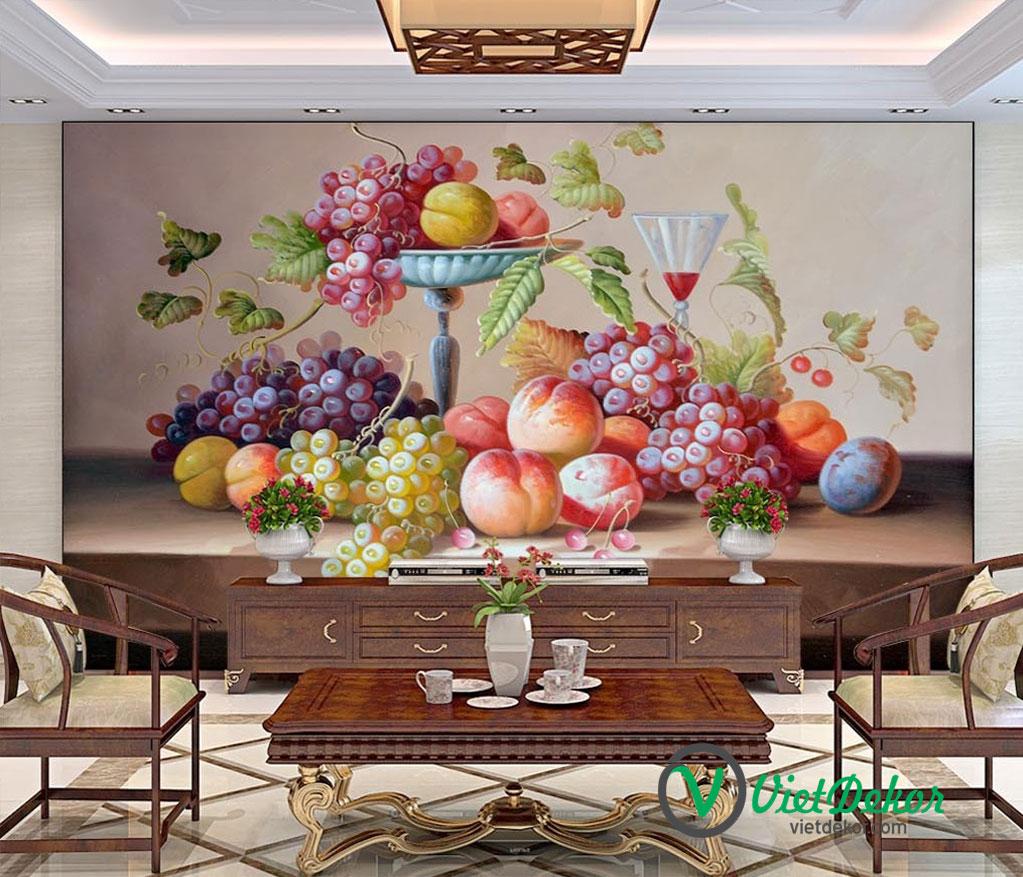 Tranh 3d dán tường hoa quả