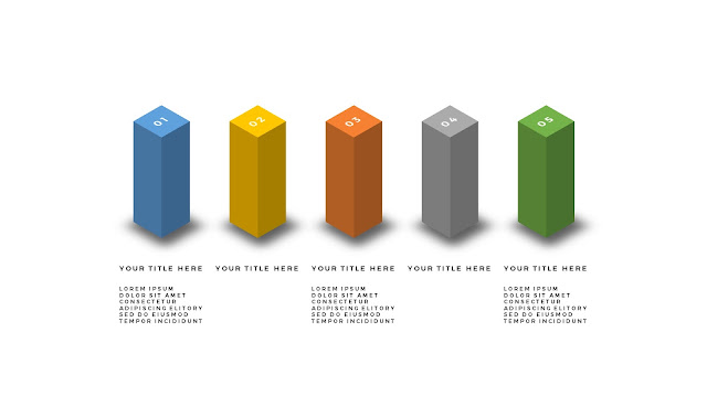Useful 3D Cube Design Elements for PowerPoint Template with Top 5 equal items