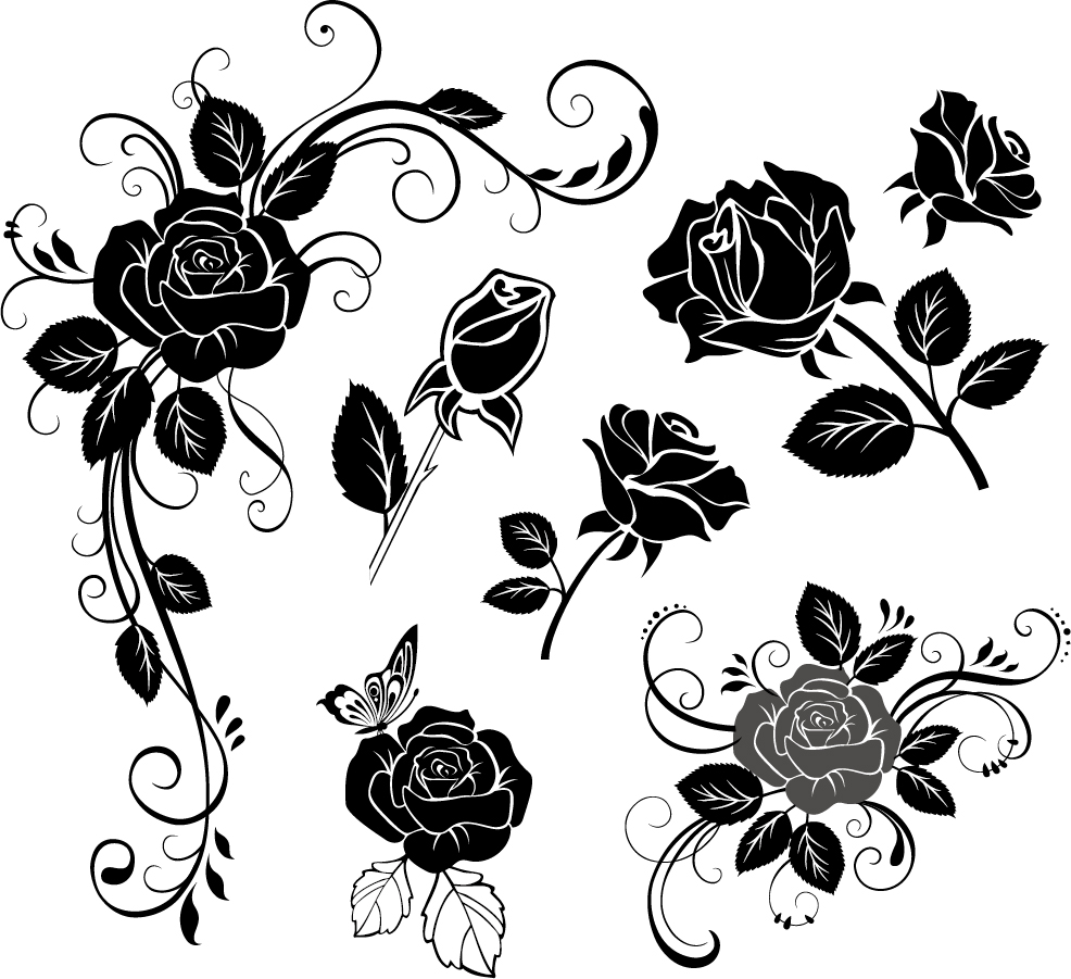 Free Vector がらくた素材庫: 手描き風薔薇のシルエット handpainted roses