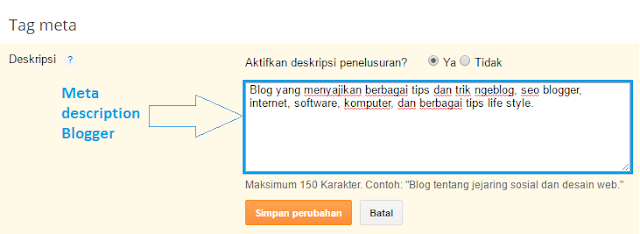 Cara mengoptimalkan meta description di blogger