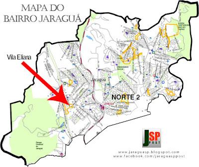 Posição da Vila Eliana dentro do bairro Jaraguá