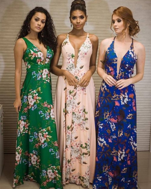 vestido longo floral madrinhas