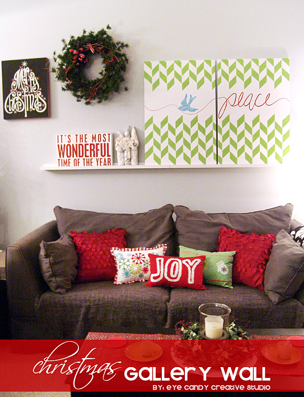decorating for christmas, christmas pillows, gallery wall, living room