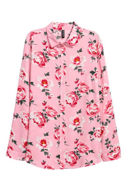 camicia a fiori rosa hm