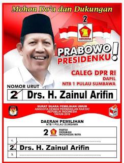 Drs. H. Zainul Arifin, Caleg DPR RI Partai Gerindra Dapil 1 Pulau Sumbawa