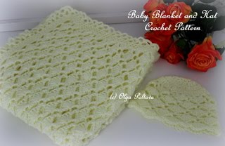 Yellow Lace Baby Blanket and Hat