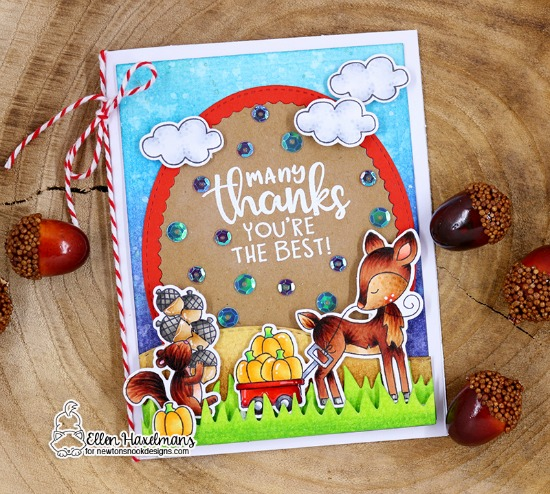 Fall woodland deer and squirrel card by Ellen Haxelmans | Harvest Tails Stamp Set by Newton's Nook Designs #netwonsnook #handmade