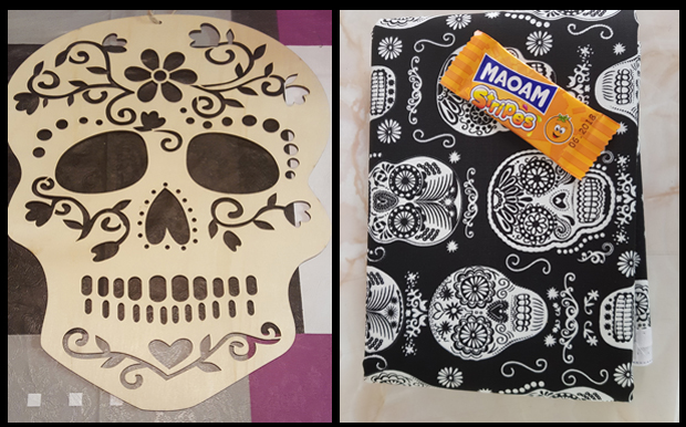 All you need to make a skull cushion is a template and glow in the dark material