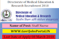 Maharashtra Directorate of Medical Education & Research Recruitment 2018 – 528 Staff Nurse