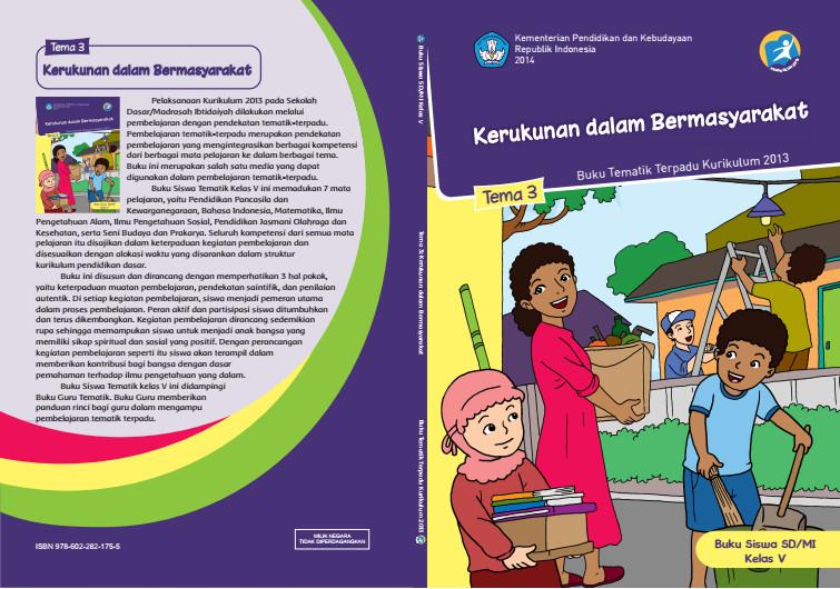 Download Buku Tematik Kurikulum 2013 SD/MI Kelas 5 Tema 3 Kerukunan dalam Bermasyarakat Edisi Revisi Format PDF