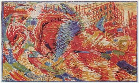 Futurismo - a cidade se levanta, pintura de Umberto Boccioni.