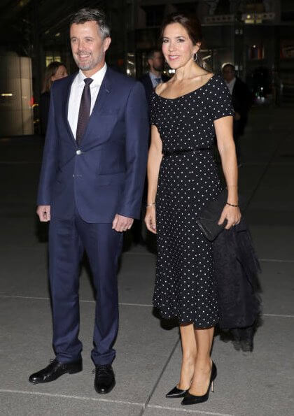 Crown Princess Mary wore a new polka dot dress by Black Halo. Crown Princess Mary wore LK Bennett pumps