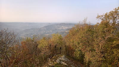 View from Monte Ubione, northwest into Valle Imagna on a hazy day.