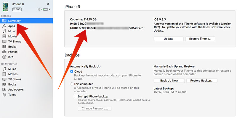 how to find serial or imei iphone 6