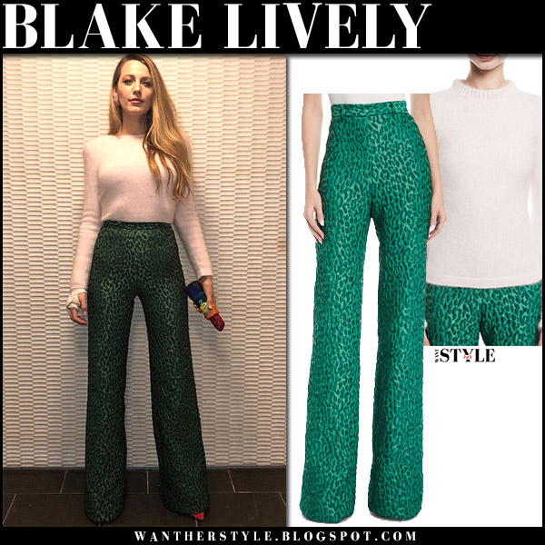 Blake Lively in white knit sweater and green leopard print pants brandon maxwell outfit fashion january 12