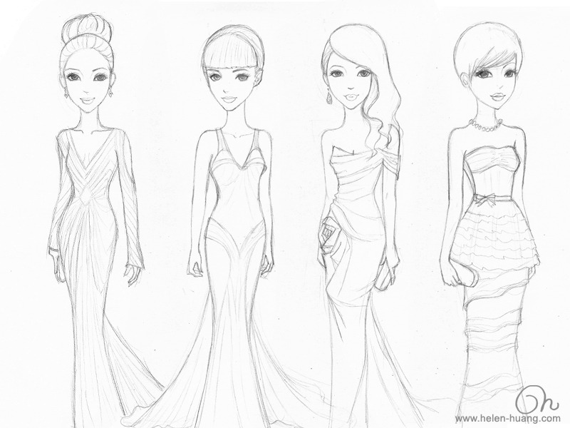My Red Carpet Inspiration Wedding Dress Sketches | The ... |Red Carpet Dresses Drawings