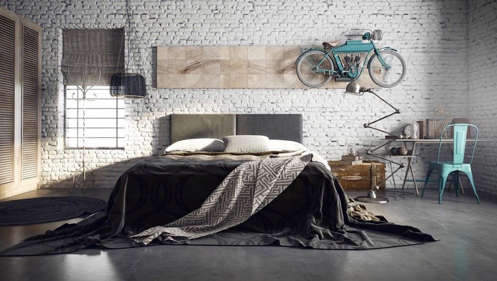 hanging-bicycle-industrial-bedroom
