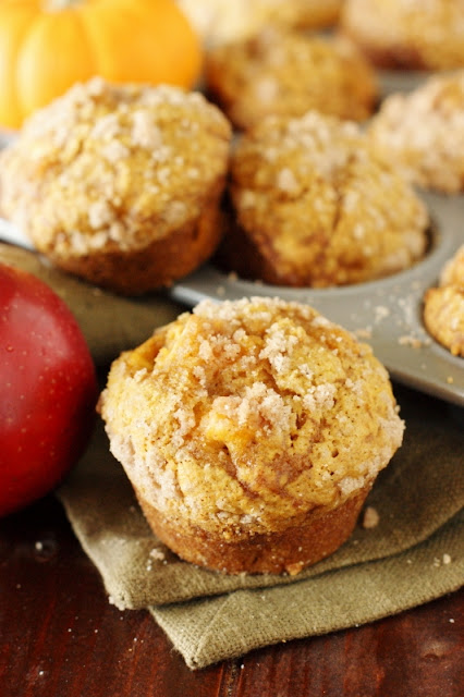 Pumpkin Apple Streusel Muffins - 2 Fall flavors are perfect together in these tender & tasty muffins!  www.thekitchenismyplayground.com