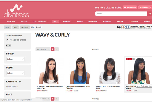 Curly wigs at Divatress
