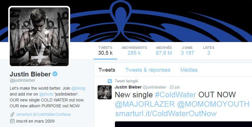 Compte Twitter de Justin Bieber