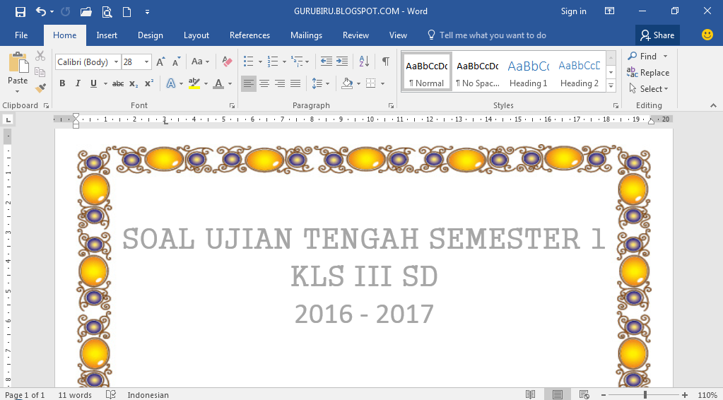 Download Soal Pkn Bi Mtk Ipa Ips Sbk Bam Uts Semester 1 Kls Iii Sd Tp 2016 2017 Intiruh