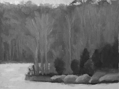 landscape study based on Painting the Poetic Landscape Composition lesson - completed BW