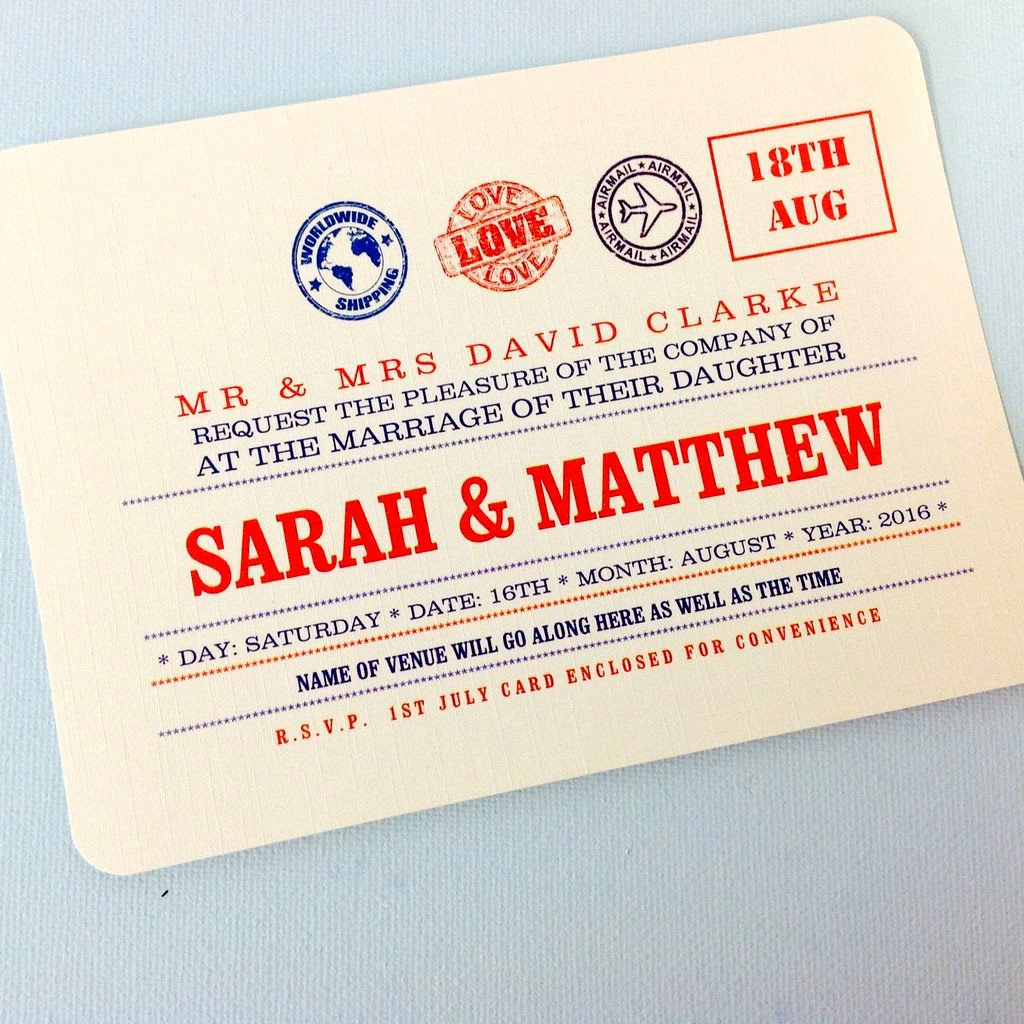 Inspired by Script: Travel themed Wedding Invitation, Info Card and ...