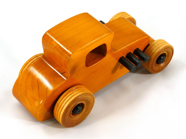 Right Rear Top - Wooden Toy Car - Hot Rod Freaky Ford - 27 T Coupe - Pine - Amber Shellac - Black Hubs