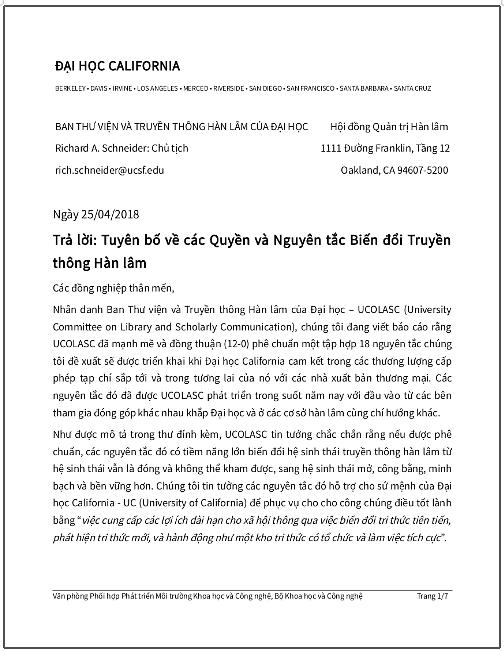 'Tuyên bố về các Quyền và Nguyên tắc Biến đổi Truyền thông Hàn lâm' của Đại học California, Mỹ - bản dịch sang tiếng Việt