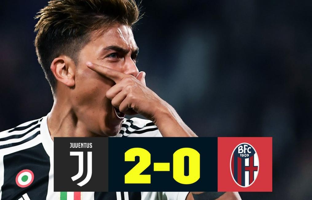 Juventus-Bologna: risultato 2-0 con i gol di Dybala e Matuidi.