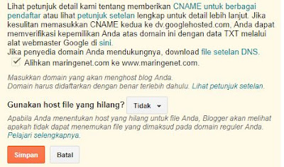 Cara Mengatasi Error Domain TLD Tanpa WWW di Blogger