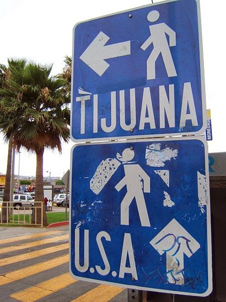 Tijuana Border Traffic Sign